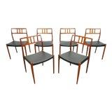 Image of Mid Century Danish Modern Teak j.l. Moller Model 79 Black Leather Dining Chairs- Set of 6 For Sale