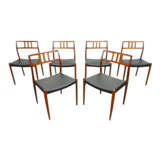 Mid Century Danish Modern Teak j.l. Moller Model 79 Black Leather Dining Chairs- Set of 6 For Sale