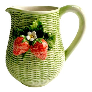 Vintage Mid Century Italian Basketweave & Strawberry Pitcher For Sale