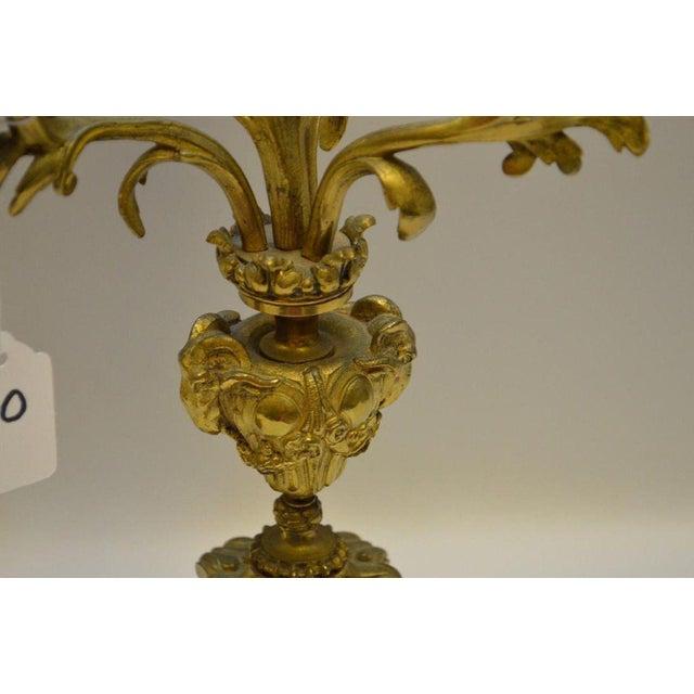 Gilt Bronze 4 Light Candelabras - a Pair For Sale - Image 4 of 5