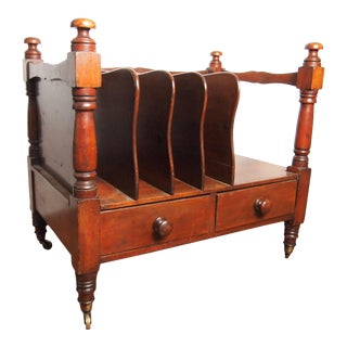 19th Century English Mahogany Oversized Canterbury For Sale