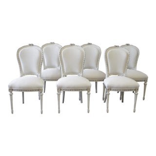 20th Century Louis XVI Style Painted With Linen Upholstery Dining Chairs - Set of 6