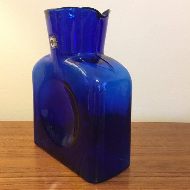 Blenko Blue Blenko Glass Water Pitcher For Sale - Image 4 of 7