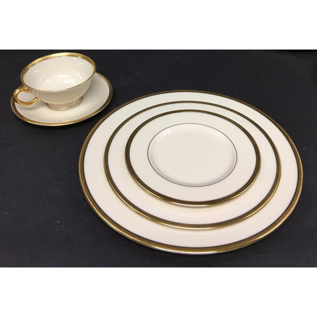 Traditional Lenox Tuxedo China Place Settings for Four Plus Extra Cup and Saucer - 22 Pieces For Sale - Image 3 of 6
