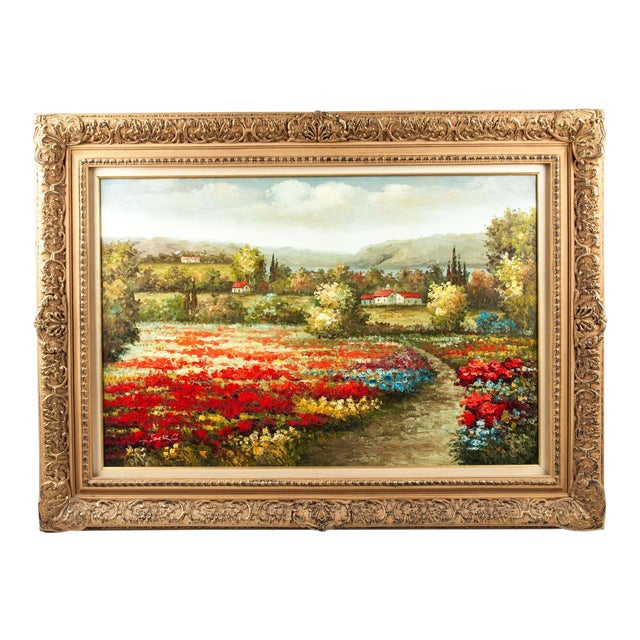 Mid-20th Century Floral Field Wood Framed Oil Painting For Sale