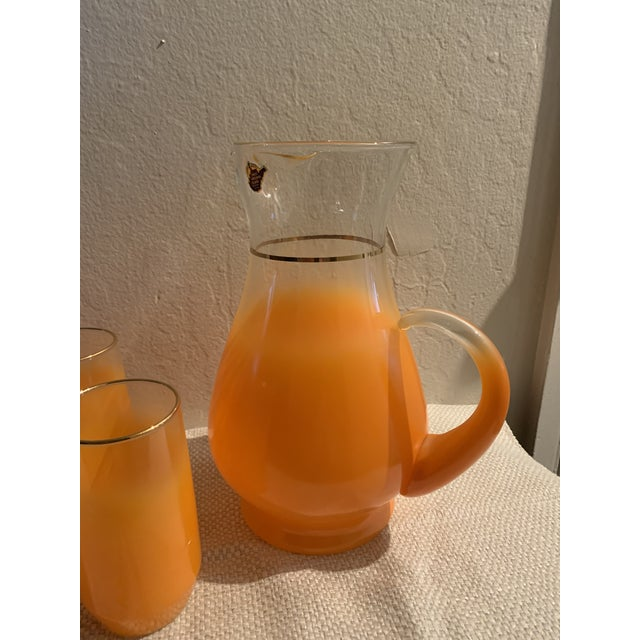 Mid-Century Modern 1960s Mid-Century Orange Glasses and Pitcher Bar Ware - 7 Pieces For Sale - Image 3 of 6