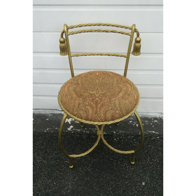 1970s Vintage Hollywood Regency Painted Gold Iron Vanity Stool For Sale - Image 9 of 11