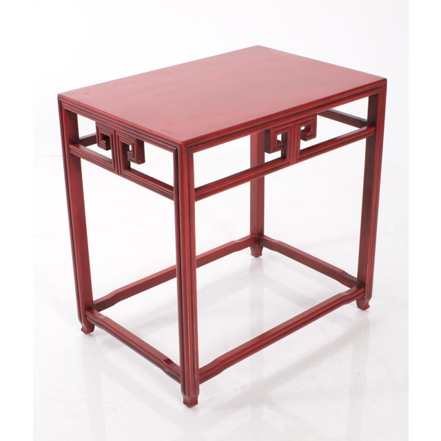Asian Pair of Michael Taylor for Baker Far East Red Side Tables For Sale - Image 3 of 9