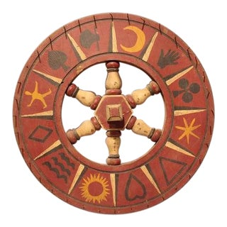 1930's Antique Double Sided Folk Art Game Wheel For Sale