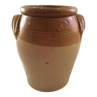 1890's Rustic English Stoneware Crock For Sale