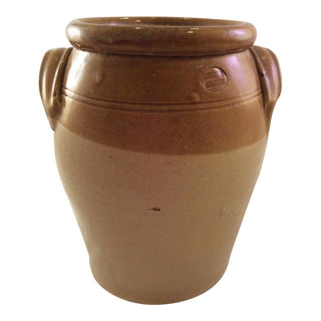1890's Rustic English Stoneware Crock For Sale