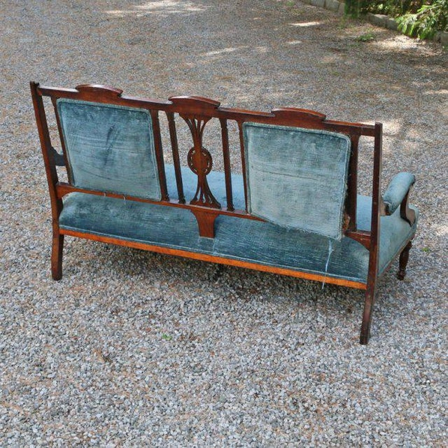Edwardian Inlaid Mahogany Settee With Blue Upholstery, Needs Restoration For Sale - Image 4 of 8