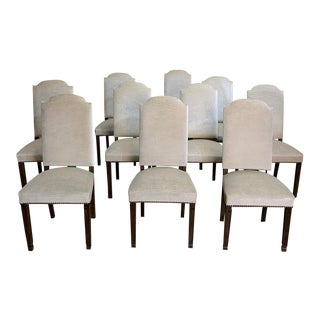 Set of 10 Neoclassical Dining Chairs With Mohair For Sale