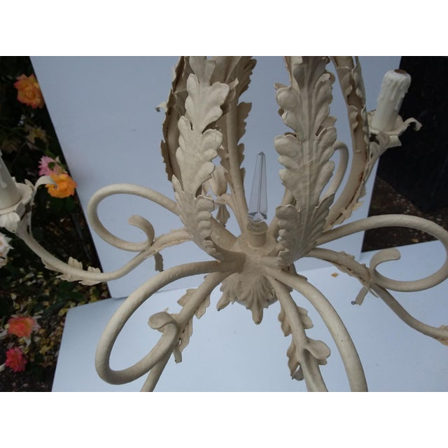 French Country 1980's Scrolling Iron Chandelier For Sale - Image 3 of 9