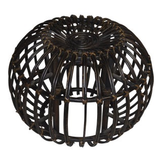 Rustic Franco Albini Wicker Stool For Sale
