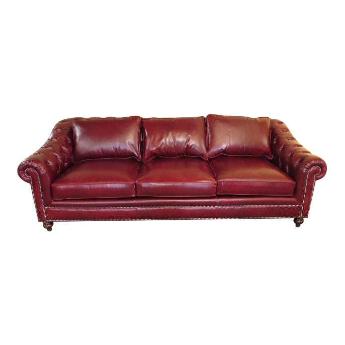 Henredon Tufted Red Leather Chesterfield Sofa Chairish
