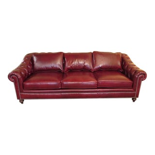Henredon Tufted Red Leather Chesterfield Sofa For Sale
