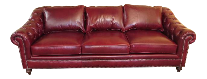 Henredon Tufted Red Leather Chesterfield Sofa