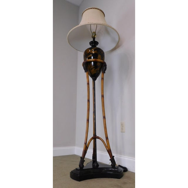 Maitland-Smith Faux Bamboo Tripod Single Light Floor Lamp With Amphora-Style Vase Center Marble Base For Sale - Image 9 of 12
