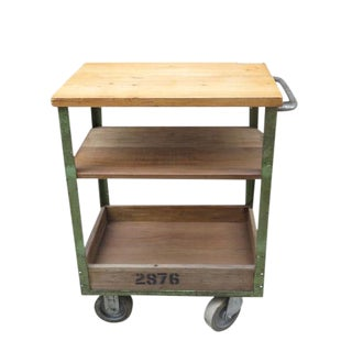 Vintage English Metal and Wood Rolling Cart For Sale
