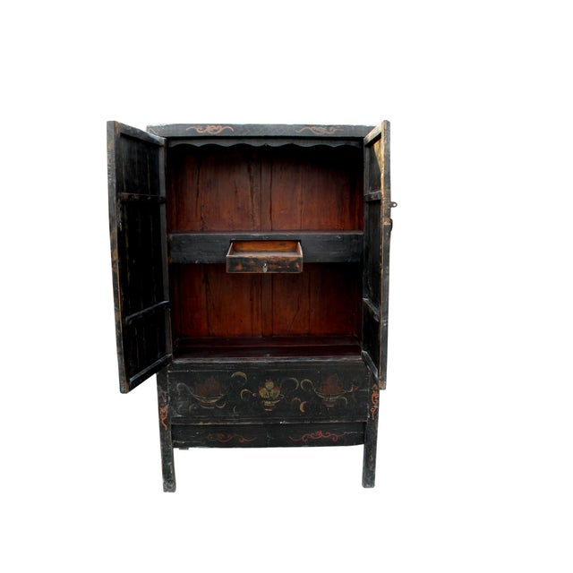 19th Century Chinoiserie-Style Black Elm Cabinet For Sale - Image 10 of 11
