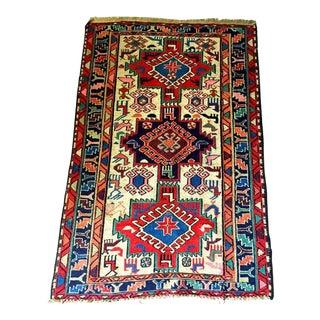 Vintage Turkish Hand Knotted Wool Anatolian Rug - 5′2″ × 3′3″