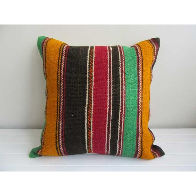 Striped Turkish Kilim Pillow Cover For Sale - Image 4 of 4