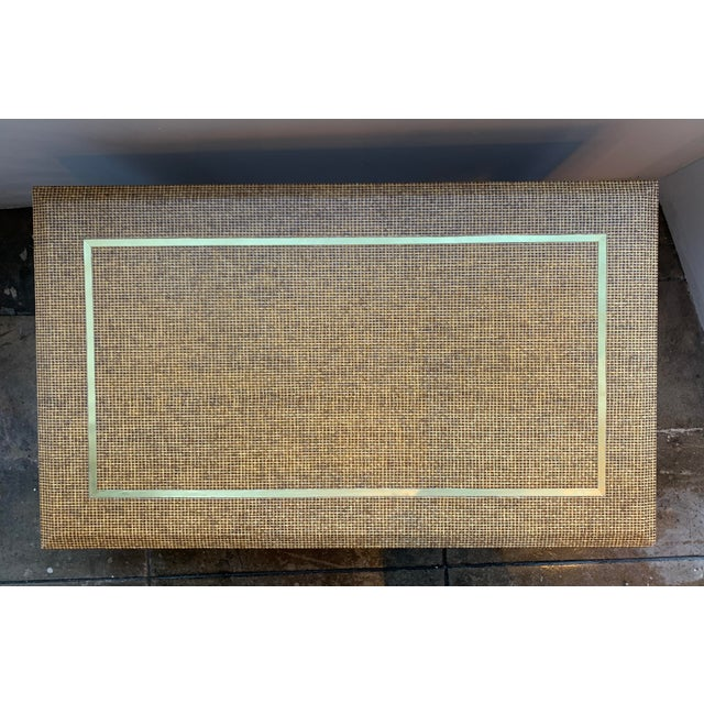 1970's Raffia Covered Side Table With Brass For Sale - Image 4 of 10
