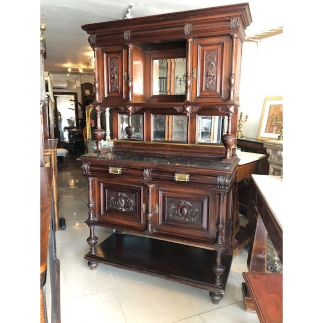 Black Antique French Marble Top Cupboard Server For Sale - Image 8 of 8