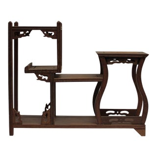 Brown Wood Tower Shape Small Table Top Curio Display Easel Stand