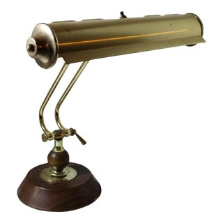 1960s Vintage Mid Century Modern Brass Wood Base Desk Table Lamp For Sale