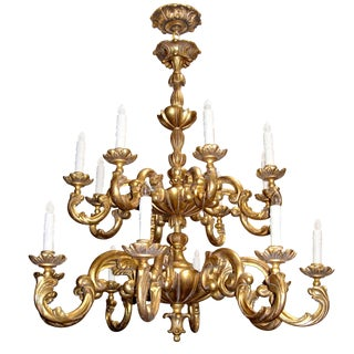 Customizable Carved Italian Gilt-wood Sixteen Arm Chandelier by Randy Esada Designs for PROSPR For Sale