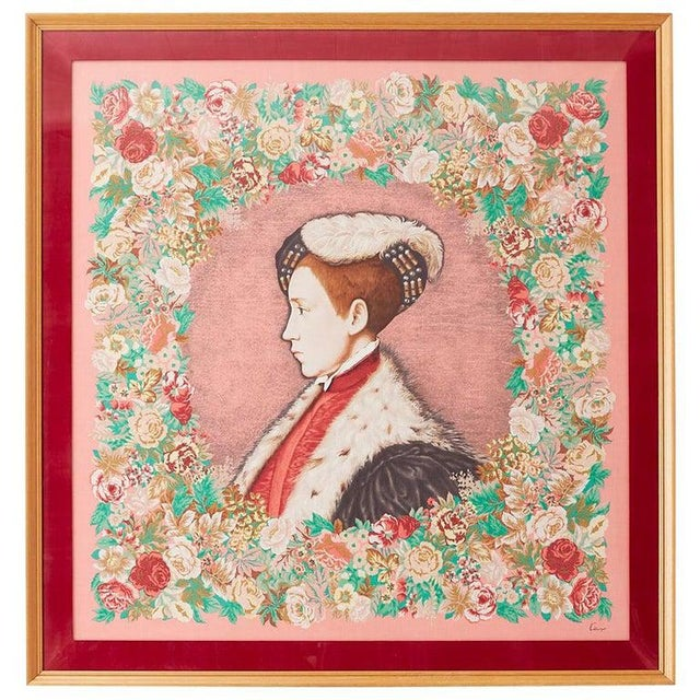 Framed Kenzo Takada Silk Mille-Fleur Painted Scarf For Sale - Image 13 of 13