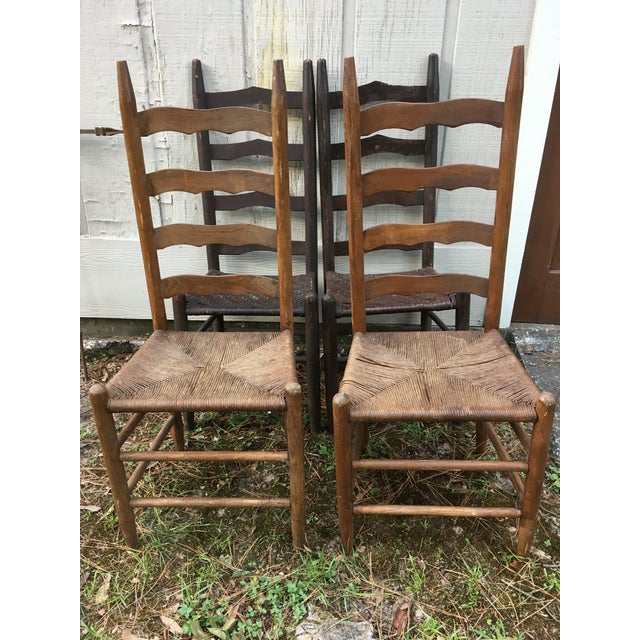 Mismatched Ladder Back Country Chairs - Set of 4 For Sale In Houston - Image 6 of 12