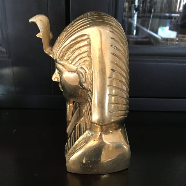 Vintage Solid Brass Egyptian Bust of King Tut For Sale - Image 7 of 8