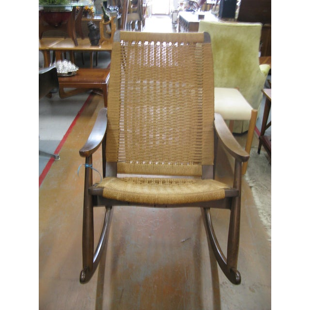 Hans Wegner Style Rope Rocking Chair - Image 4 of 8
