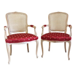 French Bergere Louis XV Style Chairs - A Pair