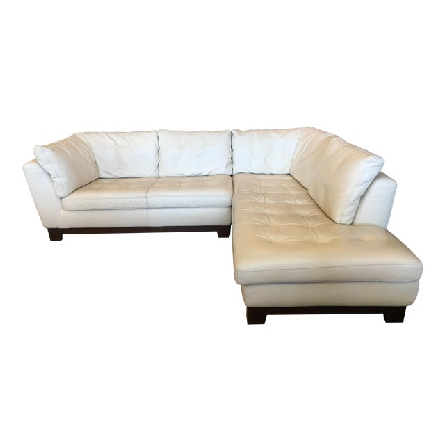 Roche Bobois Ivory Leather Serenite Sectional For Sale