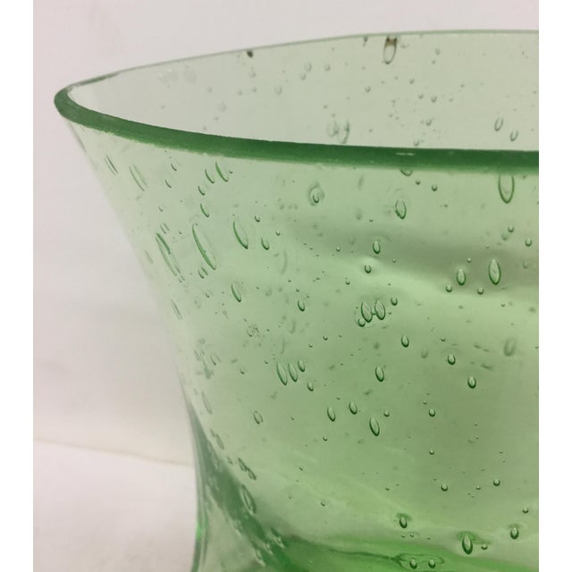 Mid-Century Modern Hand Blown Green Glass Vase For Sale - Image 3 of 9