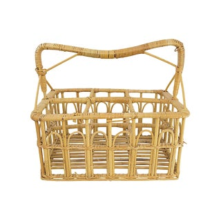 Rattan Glass Bottle Holder For Sale
