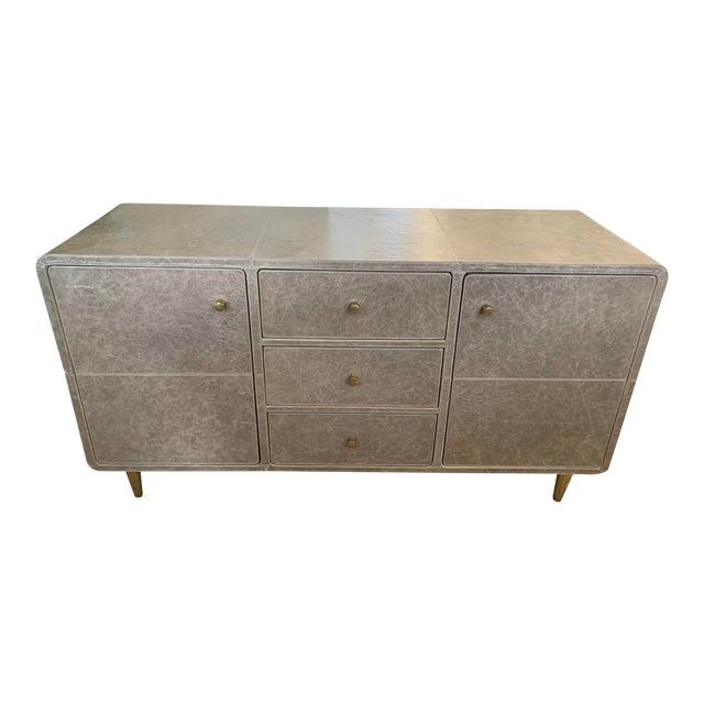 Mid-Century Modern Leather Buffet For Sale