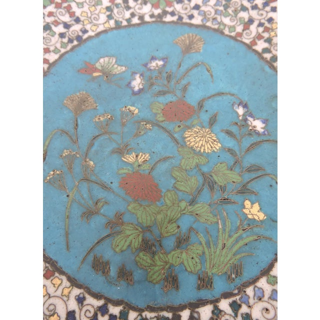 Asian 19th Century Japanese Cloisonne Bronze Floral Plate, Meiji Period For Sale - Image 3 of 6