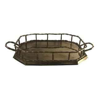 Vintage Brass Faux Bamboo Serving Tray For Sale
