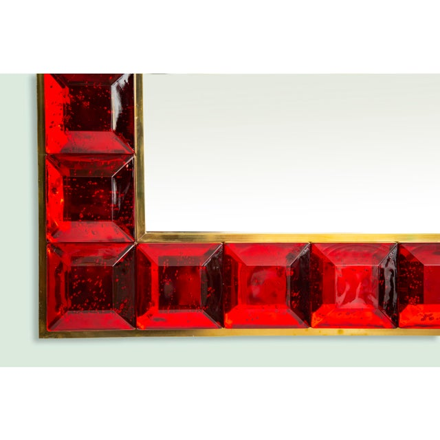 Ruby Red Contemporary Red Diamond Murano Glass Mirror For Sale - Image 8 of 9