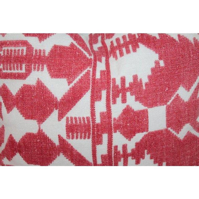 Pair of Embroidered Linen Tribal Pillows For Sale - Image 4 of 7