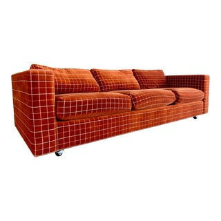 70s Orange Stripped Long Sofa Baughman/Probber Era For Sale