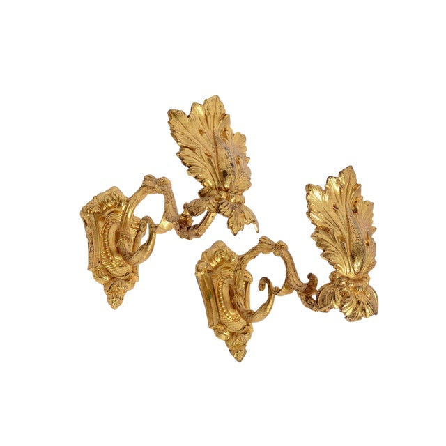 Antique 1880s French Gold Ormolu Curtain Tie / Hold Backs - a Pair For Sale