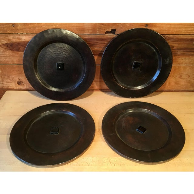 Antique Arts & Crafts Roycroft Hand Hammered Copper Plates - Set of 4 For Sale - Image 13 of 13