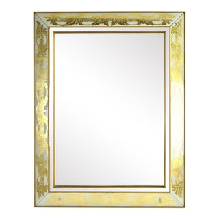 Hollywood Regency Eglomise Gold Acanthus Leaf Wall Mirror by Armand Lee For Sale