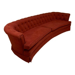 Mid Century Dorothy Draper Style Red Curved Tufted Sofa For Sale